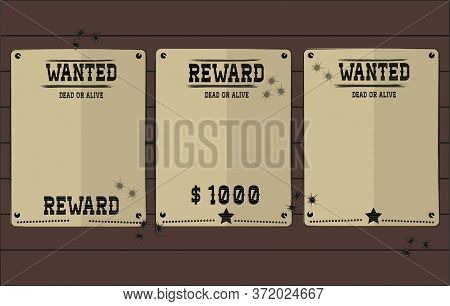 Vintage Wanted Western Posters With Blank Space For Youd Photo. Vector Mockup Wanted Banner With Woo