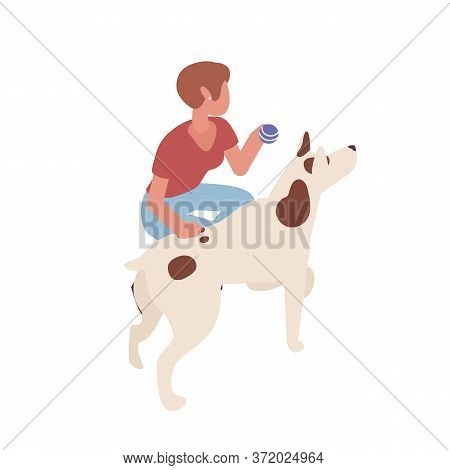 Adorable Woman Training Dog Vector Isometric Illustration. Cute Female Playing With Domestic Animal