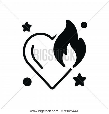Black Solid Icon For Burnt Scalded Adust Burning Fire Flame