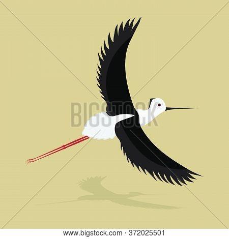 Flying Bird. Little Heron. Flat Design. Vector Illustration.