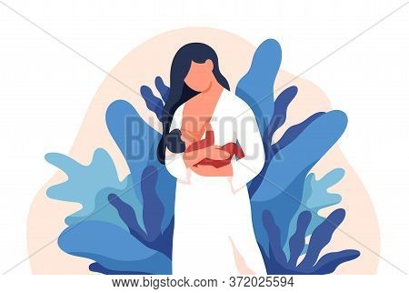 Caring Mother Feeding Baby With Breast Vector Flat Illustration. Colorful Lovely Mom Holding Infant