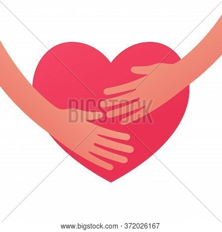 Hug Heart. Hands Embracing Heart Flat Style. Symbol Of Love And Social Assistance. Red Silhouette Of