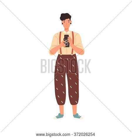 Cheerful Hipster Girl Holding Camera Take Photo Vector Flat Illustration. Funny Young Woman Photogra