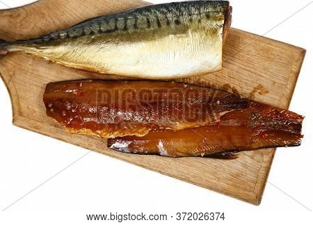 Image Of Smoked Headless Fillet Of Mackerel On Kitchen Wooden Board