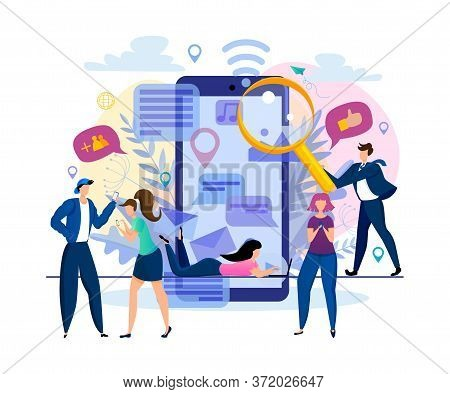 Vector Illustration With Flat People Characters Chatting In Social Networks. Man And Woman Communica
