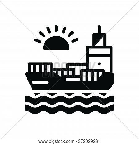 Black Solid Icon For Chartering Ocean Sea Maritime Transport Transition