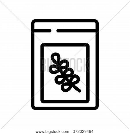 Thyme In Bag Icon Vector. Thyme In Bag Sign. Isolated Contour Symbol Illustration