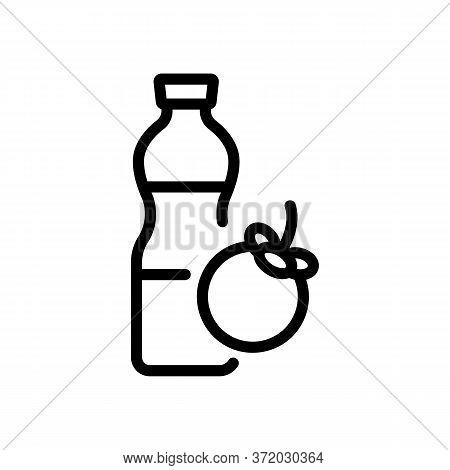 Mangosteen Freshness Drink Bottle Icon Vector. Mangosteen Freshness Drink Bottle Sign. Isolated Cont