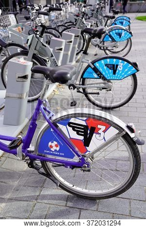 Bordeaux , Aquitaine / France - 11 20 2019 : Self-service Bicycle Urban City Transport In Bordeaux
