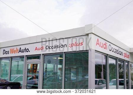 Bordeaux , Aquitaine / France - 02 01 2020 : Audi Logo Car Sign Shop Second-hand Building Dealership