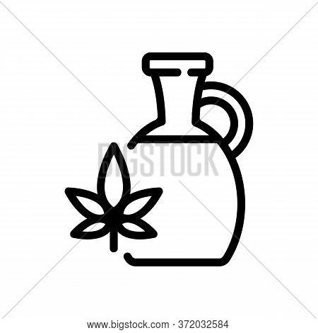 Cannabis Oil In Carafe Icon Vector. Cannabis Oil In Carafe Sign. Isolated Contour Symbol Illustratio