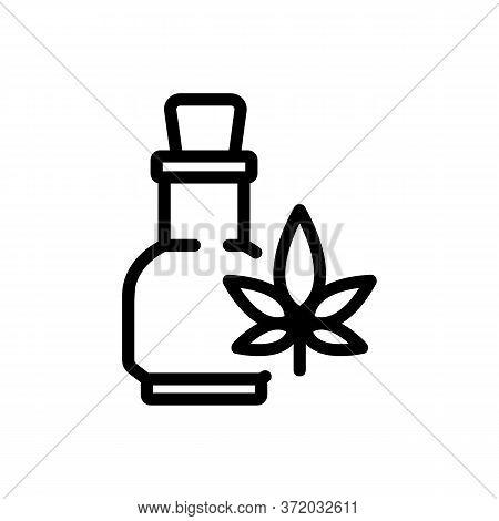 Cannabis Elixir In Glass Bottle Icon Vector. Cannabis Elixir In Glass Bottle Sign. Isolated Contour