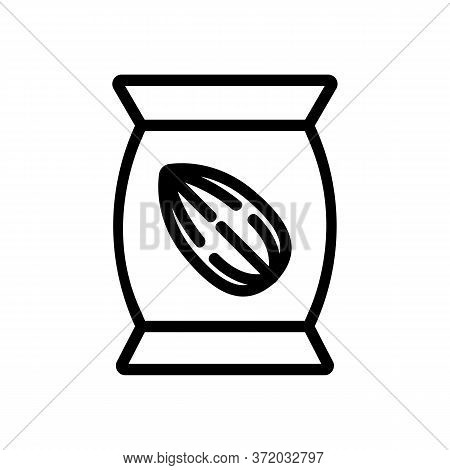 Almond Nut Bag Icon Vector. Almond Nut Bag Sign. Isolated Contour Symbol Illustration