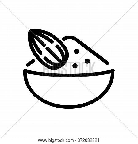 Almond Ingredient For Porridge Icon Vector. Almond Ingredient For Porridge Sign. Isolated Contour Sy