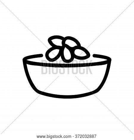 Almond Dish Ingredient Icon Vector. Almond Dish Ingredient Sign. Isolated Contour Symbol Illustratio