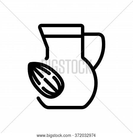 Almond Drink Carafe Icon Vector. Almond Drink Carafe Sign. Isolated Contour Symbol Illustration