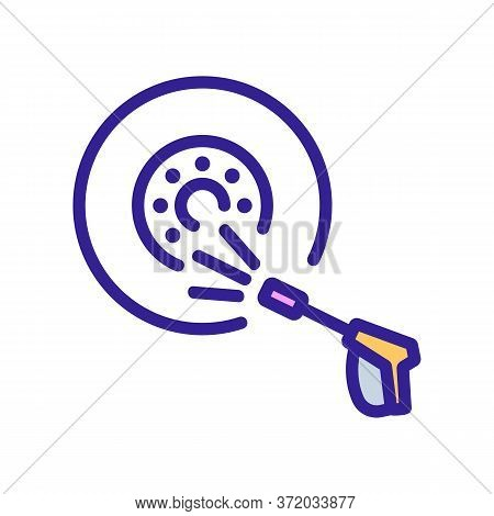 Wheel Pressure Washer Icon Vector. Wheel Pressure Washer Sign. Color Symbol Illustration