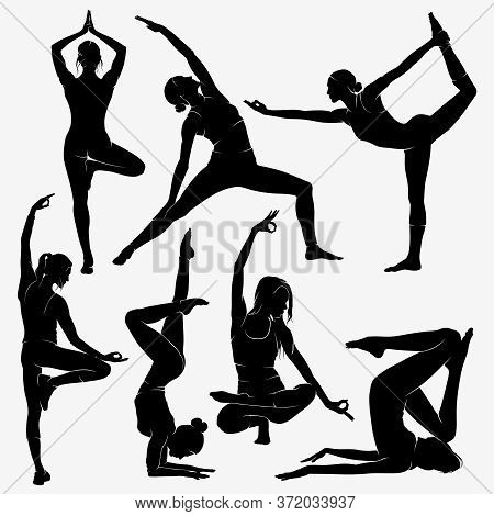 Yoga. Silhouettes Of Yoga Girls. Figures Of Female Physical Culture Of Yoga.