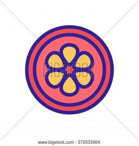 Mangosteen Cut Fruit Icon Vector. Mangosteen Cut Fruit Sign. Color Symbol Illustration