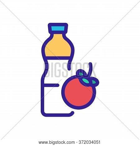 Mangosteen Freshness Drink Bottle Icon Vector. Mangosteen Freshness Drink Bottle Sign. Color Symbol