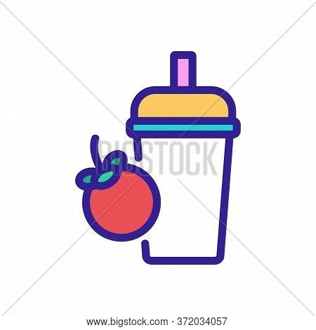 Mangosteen Cold Drink Cup With Pipe Icon Vector. Mangosteen Cold Drink Cup With Pipe Sign. Color Sym