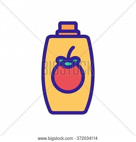 Mangosteen Shampoo Bottle Icon Vector. Mangosteen Shampoo Bottle Sign. Color Symbol Illustration