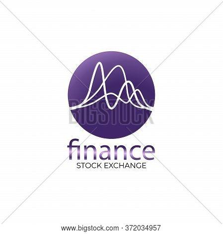 Finance Chart Logo. Simple Finance Logo Consultant Template In Gradation Purple.