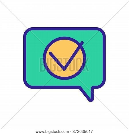 Accept Mark In Quote Frame Icon Vector. Accept Mark In Quote Frame Sign. Color Symbol Illustration