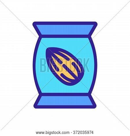 Almond Nut Bag Icon Vector. Almond Nut Bag Sign. Color Symbol Illustration