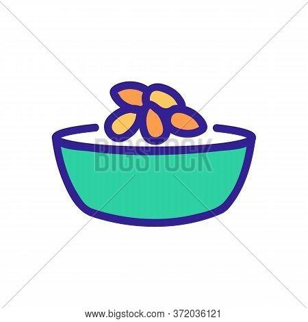 Almond Dish Ingredient Icon Vector. Almond Dish Ingredient Sign. Color Symbol Illustration