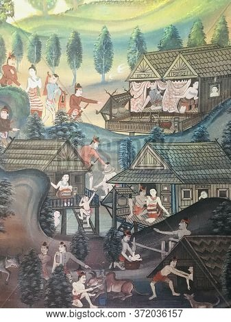 Mural Wall Painting Of Local Lifestyle Ancient Thai People At Phumin Temple, Nan, Thailand