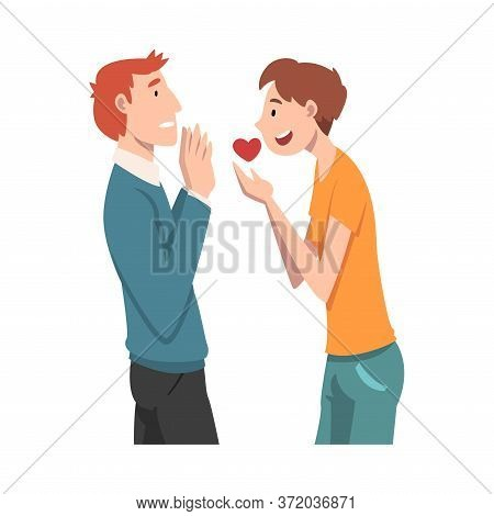 Guy Offers His Heart To The Guy. Undivided Love. Vector Illustration.