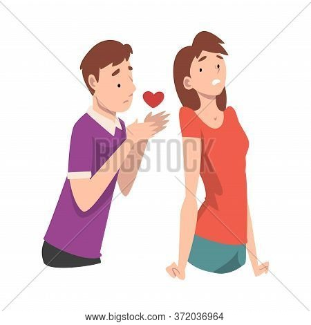 Girl Does Not Accept The Guys Offer. Undivided Love. Vector Illustration.