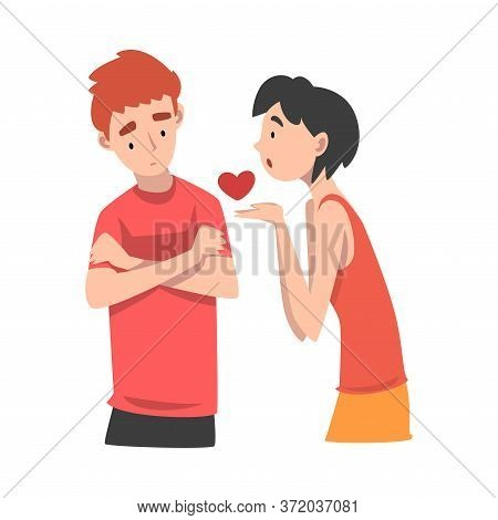 Young Woman Offers Her Heart To A Young Man. Undivided Love. Vector Illustration.