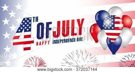 4th Of July, Independence Day United States Of America, Balloons & Flag Banner. Special Offer Sale F