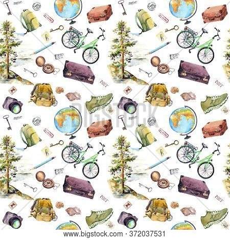 Travel Design, Tourist Equipment - Compass, Backpack, Bicycle, Photo Camera. Watercolor Tourism Desi