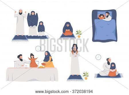 Parents And Children Do Religious Activities At Home. Fasting And Prayer In Ramadan. Illustration Ab
