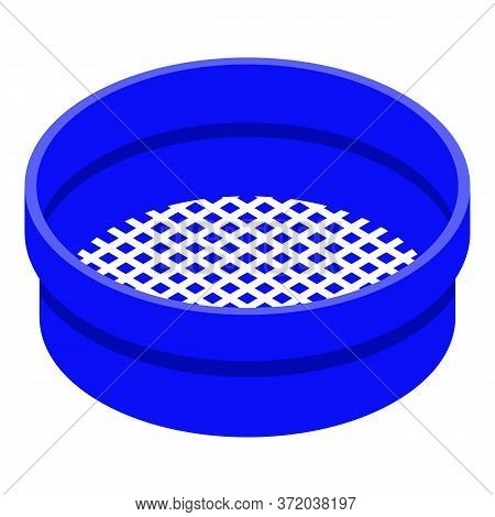 Blue Sieve Icon. Isometric Of Blue Sieve Vector Icon For Web Design Isolated On White Background