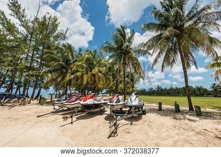 Nassau, Bahamas - May 3, 2019: Jet Skis (water Scooter, Personal Watercraft) On The Goodman's Bay Pa