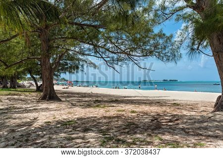 Nassau, Bahamas - May 3, 2019: View From The Park To The Goodman's Bay Beach. Goodman's Bay Park & B