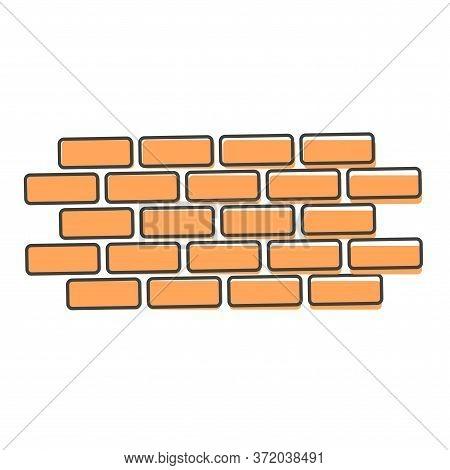 Vector Brick Icon. Illustration Of Brickwork. Brick Wall Cartoon Style On White Isolated Background.