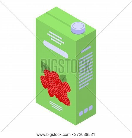 Raspberry Juice Pack Icon. Isometric Of Raspberry Juice Pack Vector Icon For Web Design Isolated On
