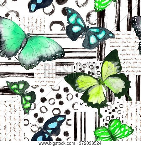 Butterflies In Biscay Green, Mint Colors. Seamless Background With Exotic Butterfly. Watercolor With