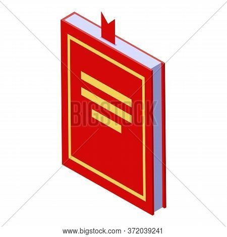 Red Foreign Language Book Icon. Isometric Of Red Foreign Language Book Vector Icon For Web Design Is