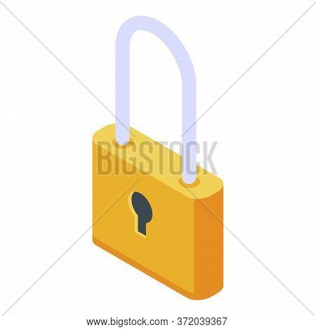 Investigator Padlock Icon. Isometric Of Investigator Padlock Vector Icon For Web Design Isolated On