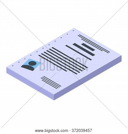 Investigator Cv Icon. Isometric Of Investigator Cv Vector Icon For Web Design Isolated On White Back