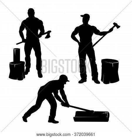 Lumberjack Cut Wood. Ax Men. Working Man