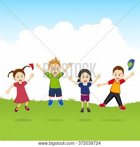Joyful Children Jump Up. Children On Vacation. Children Are Having A Rest. Stock Vector Illustration