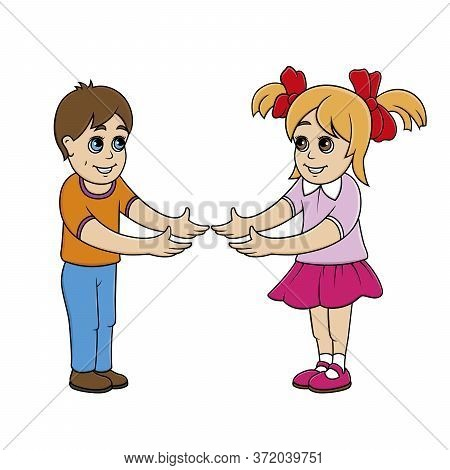 Boy And Girl Are Happy To Meet. Children Hold Hands. Friendship Between Boy And Girl. Friends. Stock