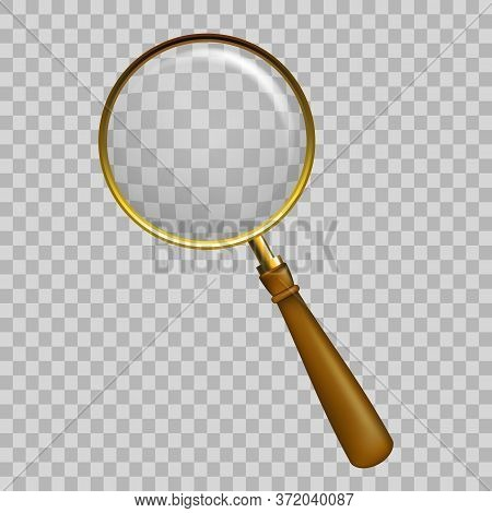 Old Style Wooden With Gold Metal Magnify Glass Transparent Lens, Vector Illustration. Magnifier With